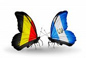 Two Butterflies With Flags On Wings As Symbol Of Relations Belgium And Guatemala