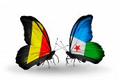 Two Butterflies With Flags On Wings As Symbol Of Relations Belgium And Djibouti