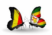 Two Butterflies With Flags On Wings As Symbol Of Relations Belgium And Zimbabwe