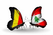 Two Butterflies With Flags On Wings As Symbol Of Relations Belgium And Lebanon
