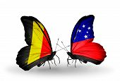 foto of samoa  - Two butterflies with flags on wings as symbol of relations Belgium and Samoa - JPG