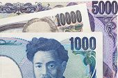 close up of japanese currency yen bank notes