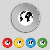 Globe Sign Icon. World Map Geography Symbol. Set Colourful Buttons. Vector