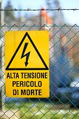 Signboard Of Danger High Voltage In Power Plant