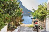 Green street scooter on Greek Kalymnos island