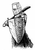 pic of templar  - Black and white drawing of a Templar armed with falchion and shield - JPG
