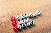 foto of plc  - PLC Product Life Cycle words on cubes on wooden background - JPG