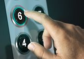 foto of elevators  - Elevator buttons with finger pressing the number six concept of choice - JPG