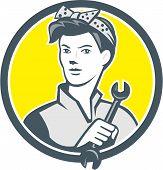 Female Mechanic Worker Holding Wrench Retro