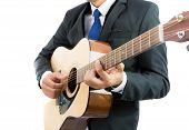 Businessman Playing Guitar Isolate