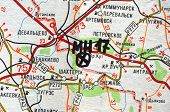 Illustrative editorial.Estern Ukraine map with site MH-17 flight crush. At January 10,2015 in Kiev, Ukraine