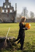 foto of pale skin  - Witch with pale skin seen something on pumpkin - JPG