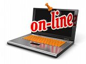 Laptop and on-line (clipping path included)