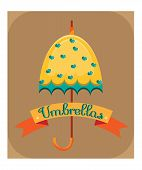Yellow umbrella with blue hearts