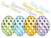 picture of egg whites  - pastel colored easter eggs with shadow on white background with text Happy Easter from four various languages - JPG