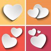 Valentines Day Set Of Four Colorful Squares