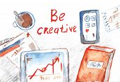 Creative process banner with office table