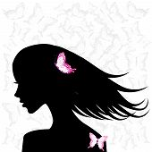 Woman Profile With Pink Butterflies
