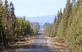 Narrow and straight gravel road.