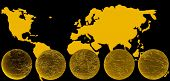 world map & globe gold