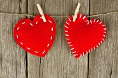Cloth hearts on clothesline