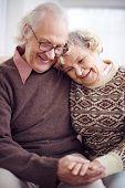 Devoted seniors in casual-wear