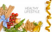 Italian Pasta With Tomatoes, Green Beans, Onion, Garlic, Herbs And Olive Oil On A White Background (