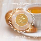 Menu design template with tea cup