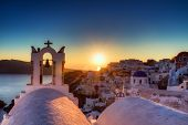 Village Of Oia At Sunset