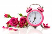 Bouquet Of Roses And Pink Alarm Clock
