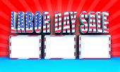 stock photo of labor  - 3D rendered labor day sale text with USA Flag effect great background for your labor day sale event promotions - JPG