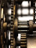 Gear In Mechanism Of The Old Clock.