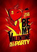 Be My Valentine party design with hand holding burning heart.
