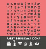 party, holidays, events, birthday icons, signs, symbols, illustrations set on background, vector