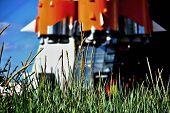 Rocket on start and green grass
