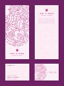 Vector pink flowers lineart vertical frame pattern invitation greeting, RSVP and thank you cards set