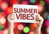 Summer Vibes card with colorful background with defocused lights