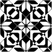 Seamless Cristal Pattern. Vector Geometric Background. Regular Monochrome Texture