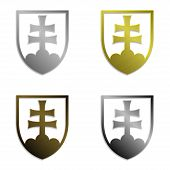 illustration of four simply isolated metallic emblems of Slovak republic in silver gold bronze and s