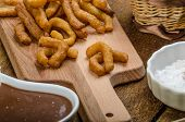 foto of churros  - Churros with chocolate dip  - JPG