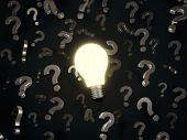 Lightbulb And Question Marks
