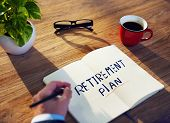 picture of retirement  - Businessman Retirement Plan Ideas Planning Benefits Concept - JPG