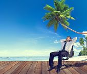 Businessman Beach Relaxation Getting Away From It All Concept