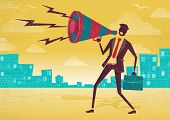 pic of shout  - Great illustration of Retro styled Businessman shouting at the top of his voice through a loudspeaker megaphone - JPG