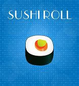 Food Menu Sushi Roll With Blue Background