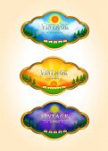 Three Vintage Time-lapse Landscape Tag Icons, Create By Vector