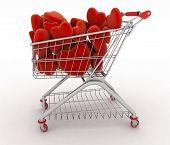 Supermarket trolley full of red hearts. 3d render illustration on white background