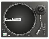 Vector illustration of modern black turntable