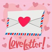 Постер, плакат: Love Letter With Heart Background