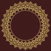 Damask Vector Round Pattern. Orient Golden Ornament
